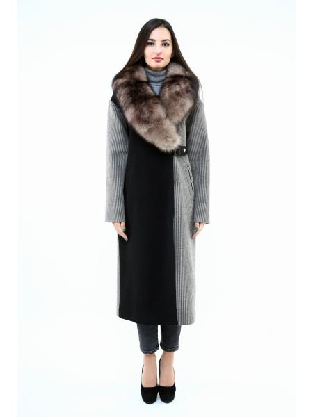 Пальто 115 см кашемировое (черно-коричневый) (15486-25.12)
