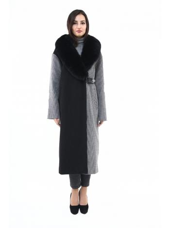 Пальто 115 см кашемировое (черно-серый) (15486-25.12)