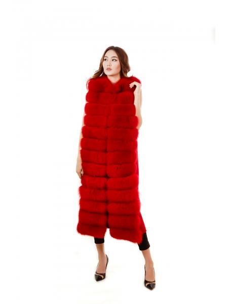 Жилетка кашемир мех. Песец (красный) дл-120, об-105 (LON)