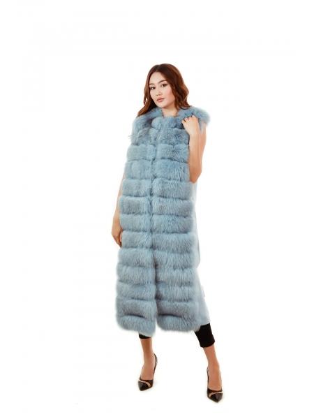 Жилетка кашемир мех. Песец (голубой) дл-120, об-100 (LON)