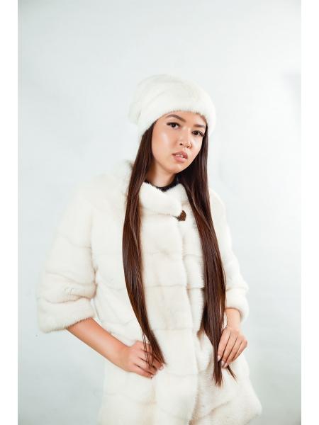 Шапка норковая (белый) (D26)