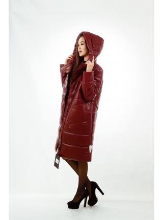 Куртка кожаная с капюшоном (bordo)