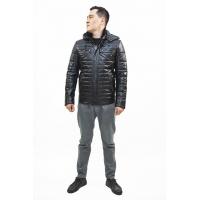 Куртка кожаная мужская с капюшоном (D25.280)