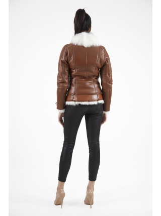 Дубленка из меха тоскана OMABELLE exclusive (brown) (D-0420)